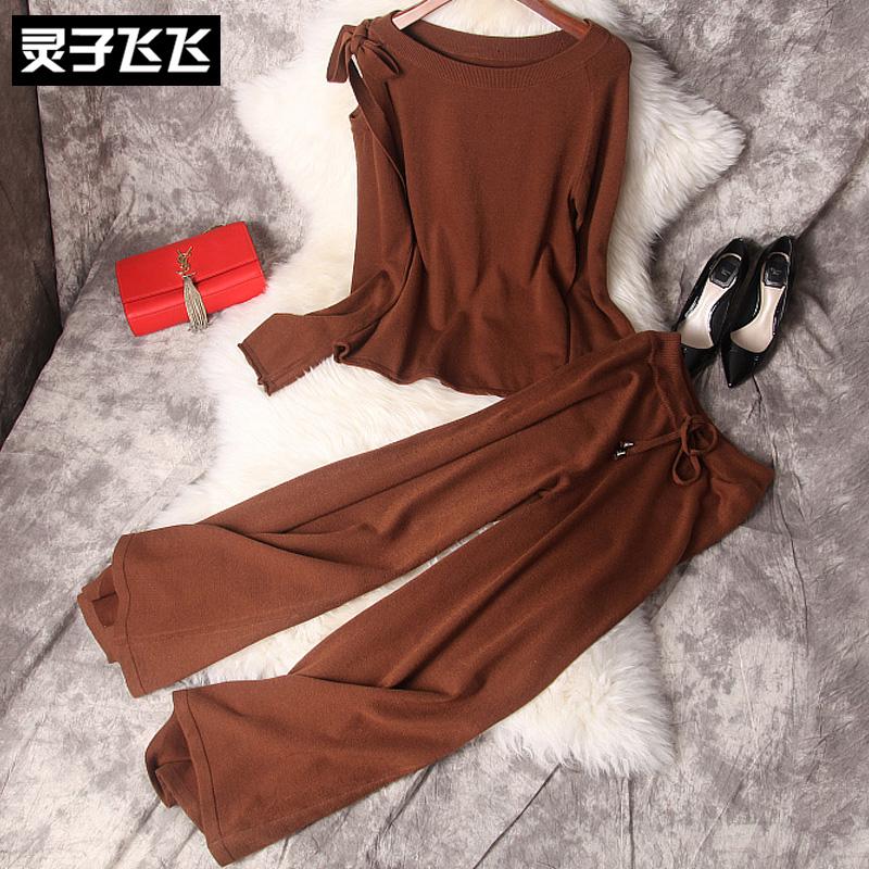 冬季焦糖色宽领套头蝴蝶结毛衣针织衫宽松阔腿长裤打底两件套装女