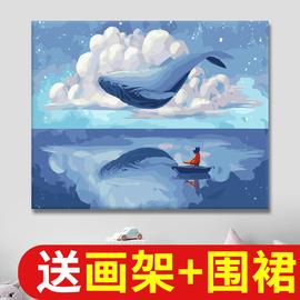 画画diy数字油彩画 自绘填色画减压手工手绘填充画数字油画涂色画图片