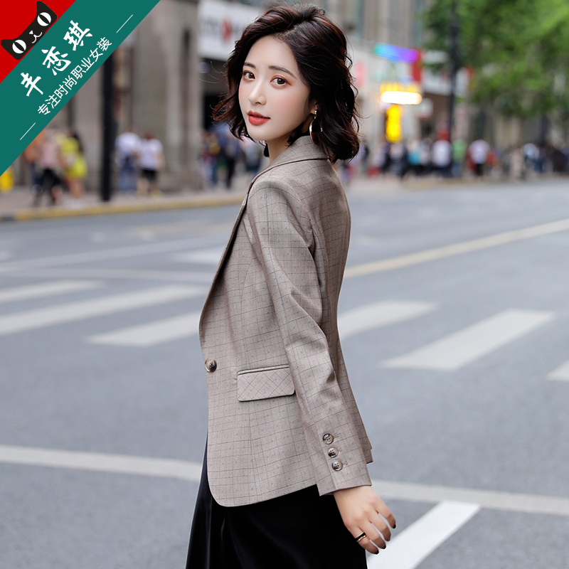 Plaid small suit jacket female slim suit Korean version of the British style 2021 spring and autumn new temperament small suit