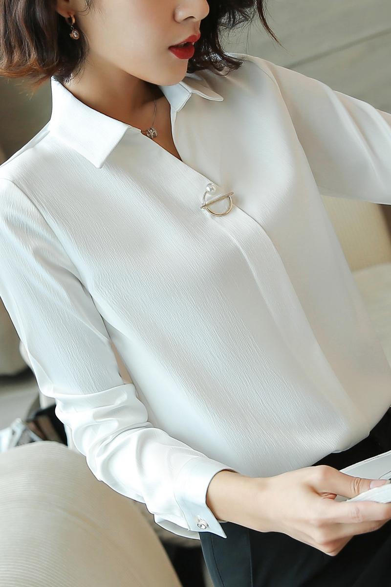职业装女装秋装白色衬衫女长袖2018春装新款时尚衬衣chic早秋上衣