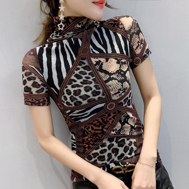 欧洲站女装2020秋冬装新款时尚网纱修身上衣高领短袖t恤打底衫潮
