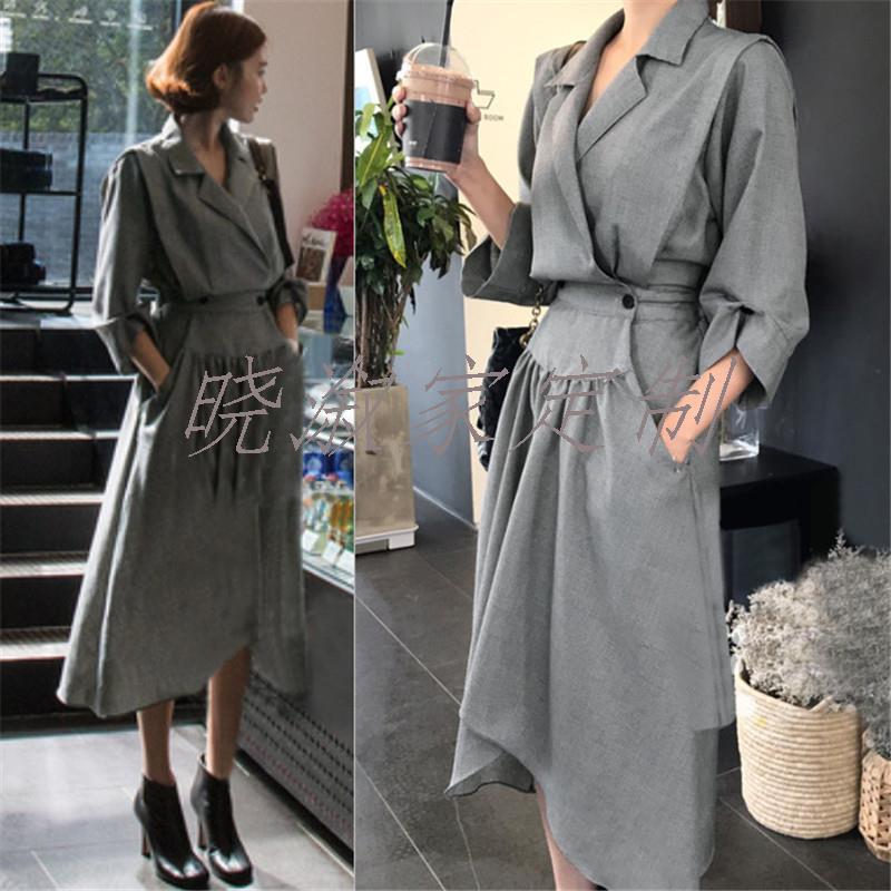 [Xiaoxu home customization] 2020 new Korean chic handsome suit collar high waist irregular hem dress