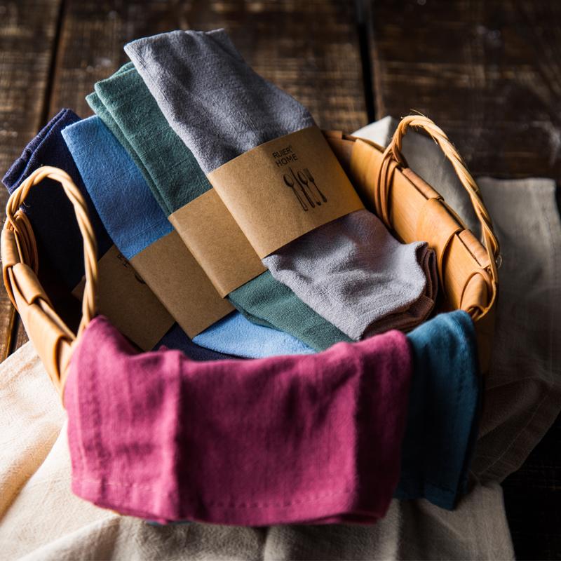 日式素色简约西餐餐巾布方巾餐垫 棉麻吸水不掉毛茶布茶巾擦杯布