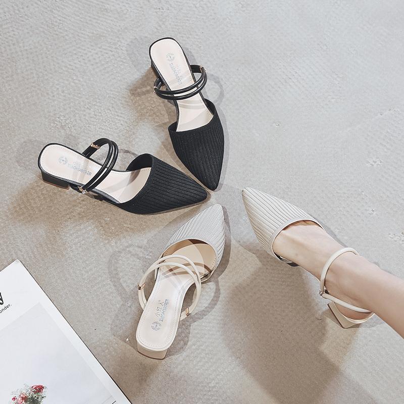 包頭兩穿涼鞋女仙女風2020年新款時裝高跟鞋粗跟中跟涼拖鞋ins潮