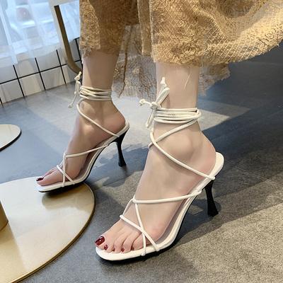 交叉绑带罗马凉鞋女ins潮2019夏季新款韩版百搭细跟一字跟高跟鞋
