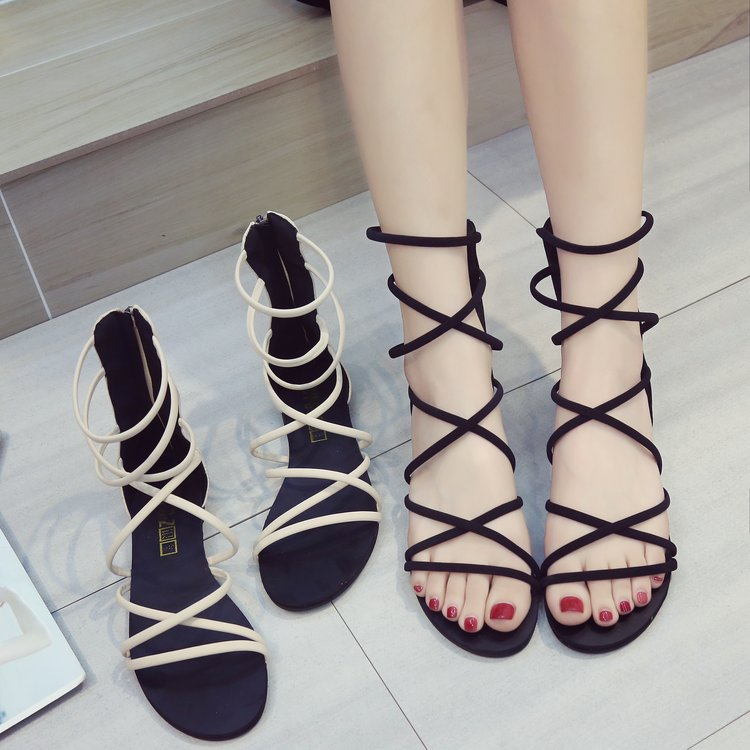 (用69.2元券)鞋子女2019新款罗马凉鞋女交叉绑带沙滩平底露趾波西米亚度假女鞋