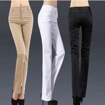 夏季薄款新品直筒裤长裤子显瘦修身休闲裤女裤中腰OL通勤纯棉大码