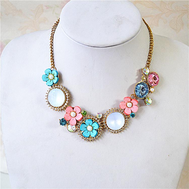 日韩外贸饰品夸张精美气质百搭花朵宝石流行新款潮项链锁骨链女