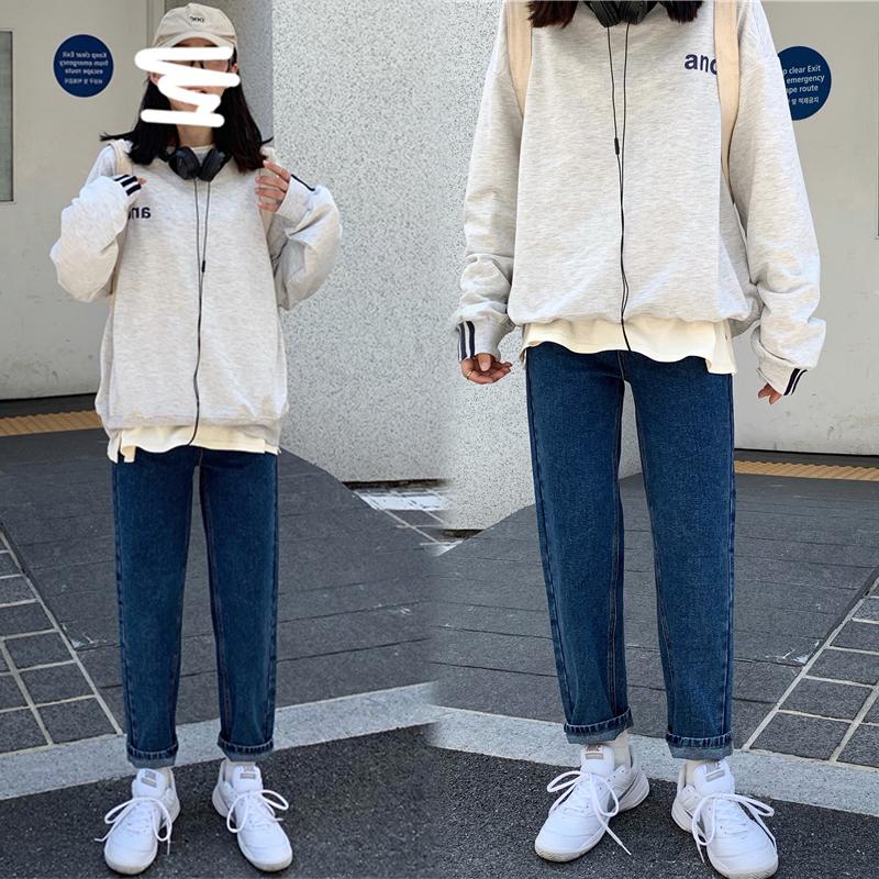 68.00元包邮秋节长袖牛仔裤两件套原宿元素卫衣