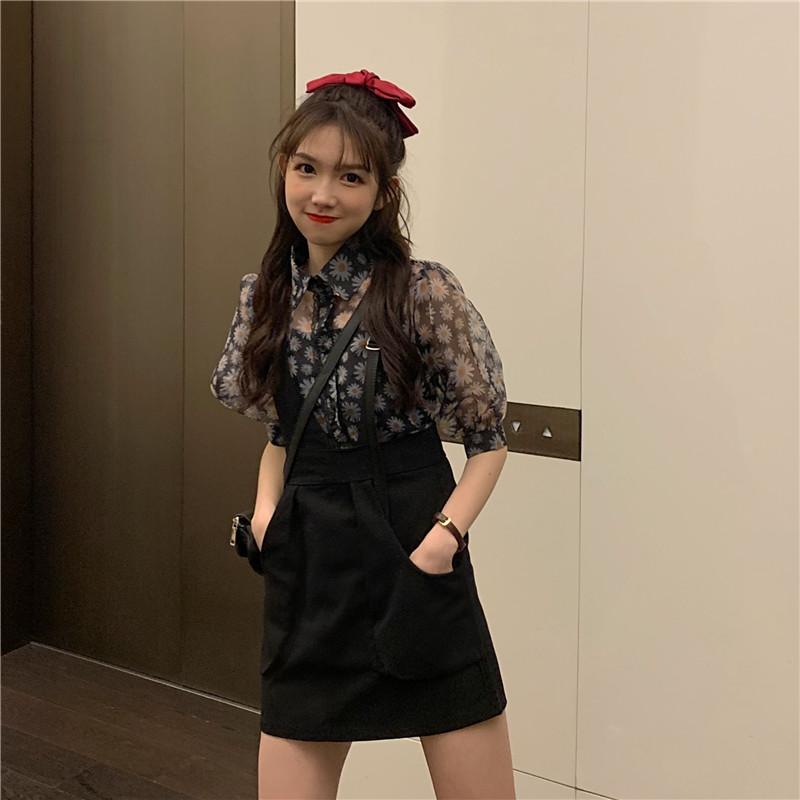 2020新款夏装两件套设计感小雏菊印花泡泡袖衬衫+不对称背带短裙
