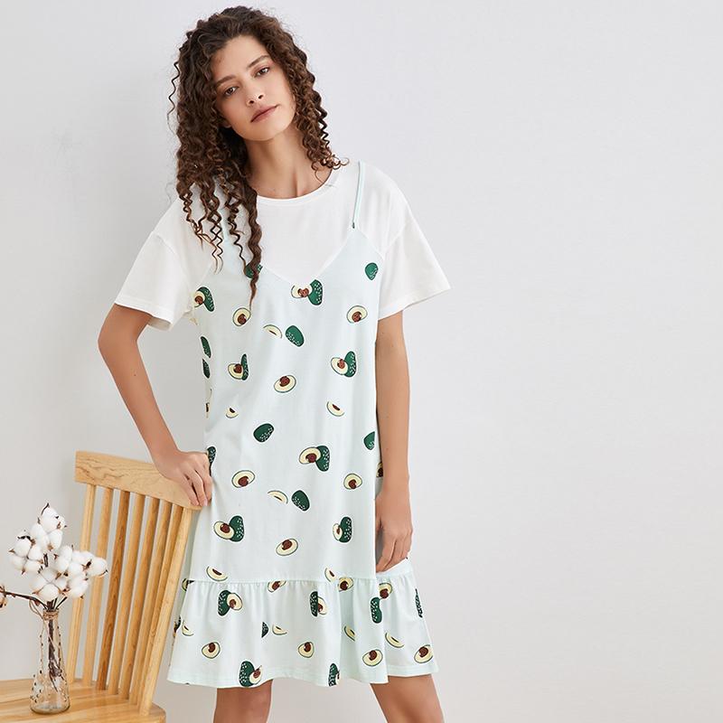 婵之云睡裙女夏短袖中裙舒适可外穿可爱连衣裙家居服薄款DA111006