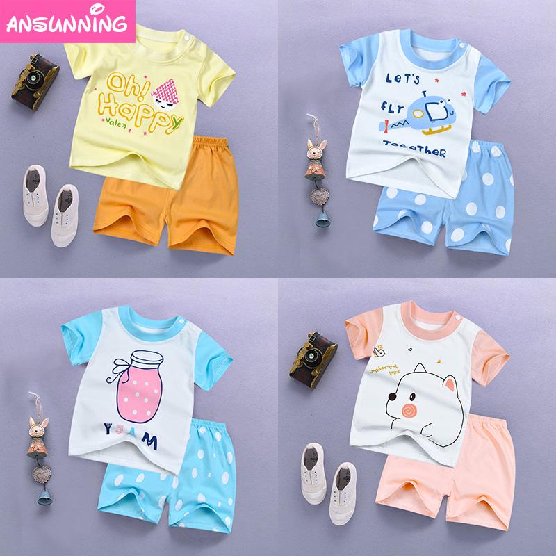 男宝宝夏装套装0一1-2-3岁韩版潮2018新款婴儿衣服女童纯棉两件套