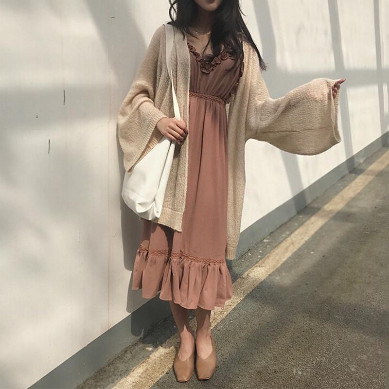 ZNG SHOP2018春季新款��中�L款���_衫女��松薄款毛衣外套