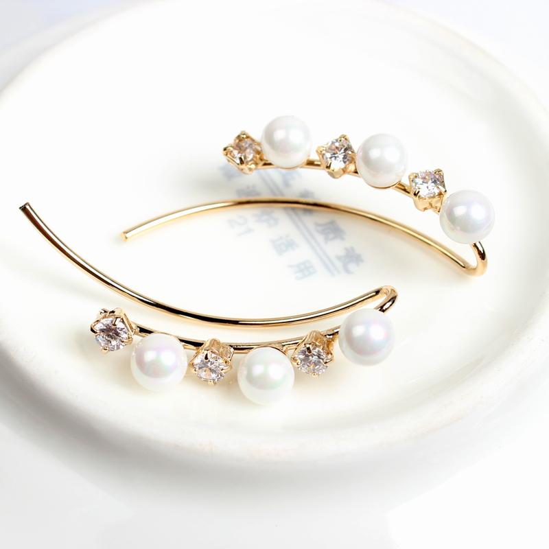 日本海水珍珠款超美镶锆石镀18K金耳排耳钉韩版迷你耳环高端耳饰