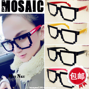 34413315e77 Mosaic eye glasses frame non-mainstream female models big influx of people  male personality decorative frames without lenses leopard face - Taobao  Depot