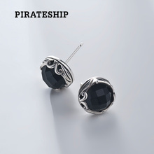 Pirate ship silver ornament black chalcedony 925 silver temperament Earrings personality Earrings Korean men Chao men's Eardrops