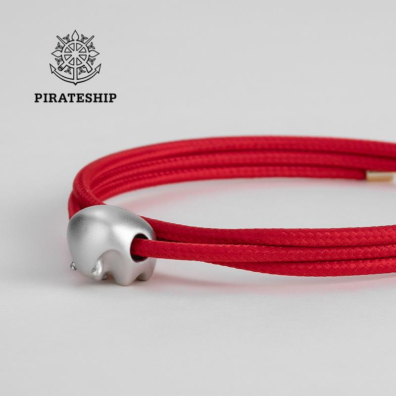 海盗船银饰本命年红绳银手链女牛年礼物男编织手绳饰品转运珠属牛