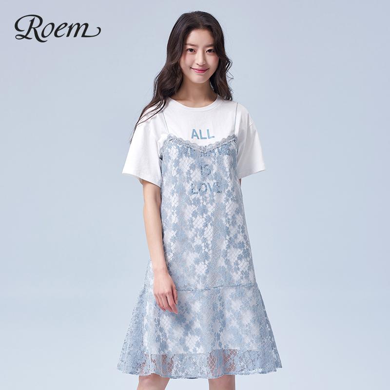 Roem2019夏季新款女士时尚休闲印花蕾丝连衣裙RCOW92517L