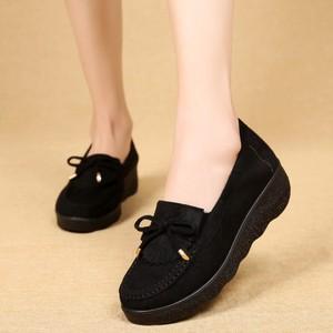 春秋新款老北京布鞋女鞋松糕厚底豆豆鞋坡跟中跟妈妈鞋女工作单鞋