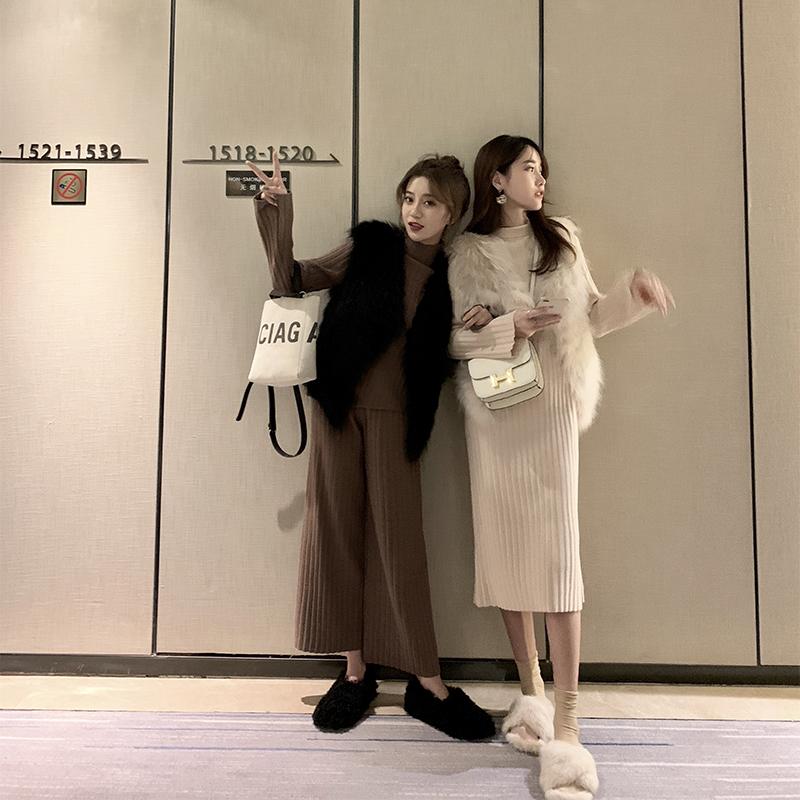 Sevi家 chic网红两件针织衫套装立领打底连衣裙秋冬2018新款