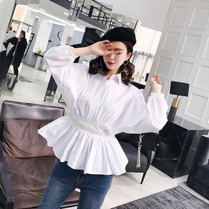 【实拍】早春新款时尚珍珠装饰褶皱收腰显瘦翻领长袖衬衫女3309