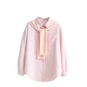 chic条纹慵懒海军风显瘦秋季衬衫