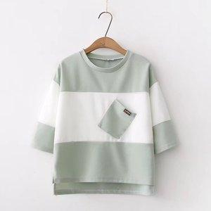 小清新夏装新款撞色拼接短袖t t恤