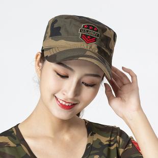 户外特种兵迷彩帽子男女水兵舞帽 全棉刺绣平顶帽军迷棒球帽遮阳