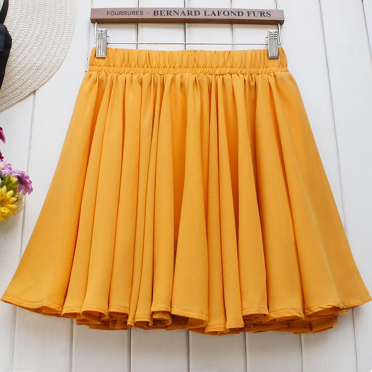 Versatile 640cm Chiffon short skirt with yarn half-length A-line pleated umbrella skirt with elastic high waist