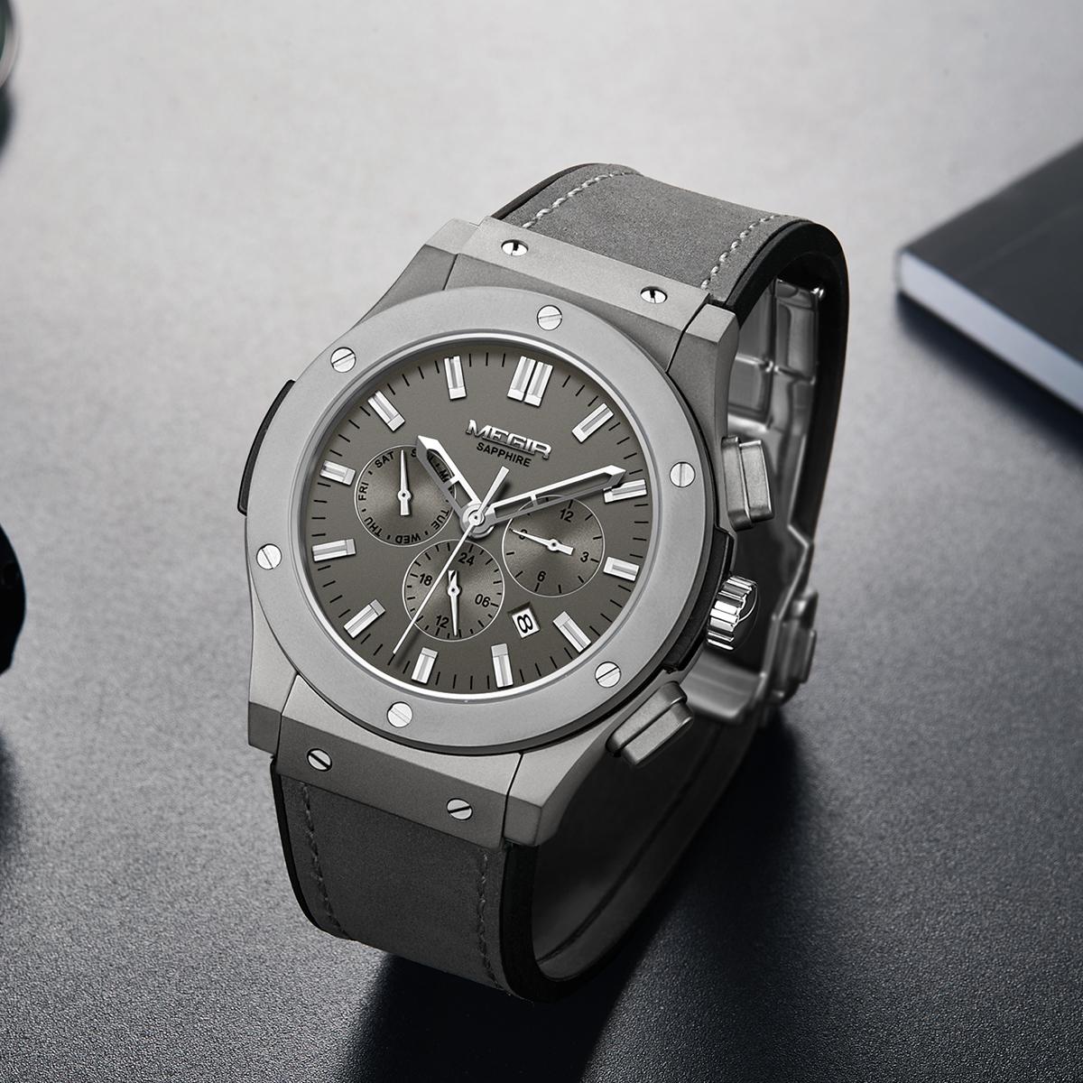 Leather strap watch sapphire multifunctional leisure sports wind fine steel waterproof automatic leather mens mechanical watch