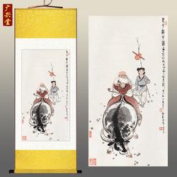 老子骑牛出关图 丝绸画客厅装饰画 卷轴画挂画 国画已裱包邮 定制