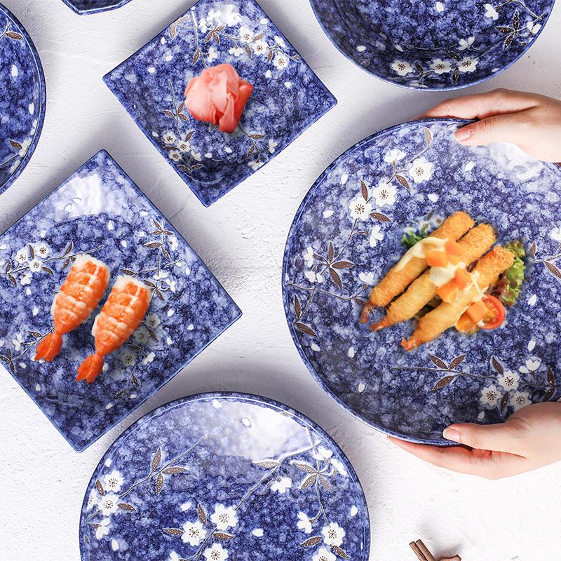 日本原装进口美浓烧陶瓷器餐具蓝樱花碗方平深盘碟子套装日式和风 Изображение 1