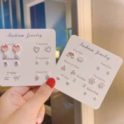 Female student Earrings Korean version simple and small earrings temperament net red face simple new ear accessories set fashion