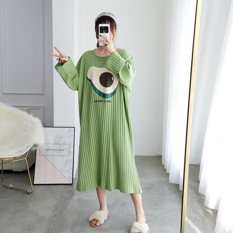 热销224件限时抢购牛油果长款纯棉加大码韩版长袖睡裙