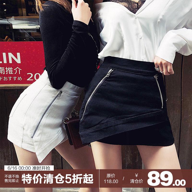 李婉君港味半身裙新款高腰显瘦不规则拉链包臀裙个性时尚短裙裤裙