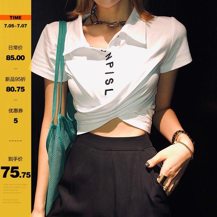 李婉君泫雅风短款polo衫女2019新款韩版设计感心机小众T恤短袖潮