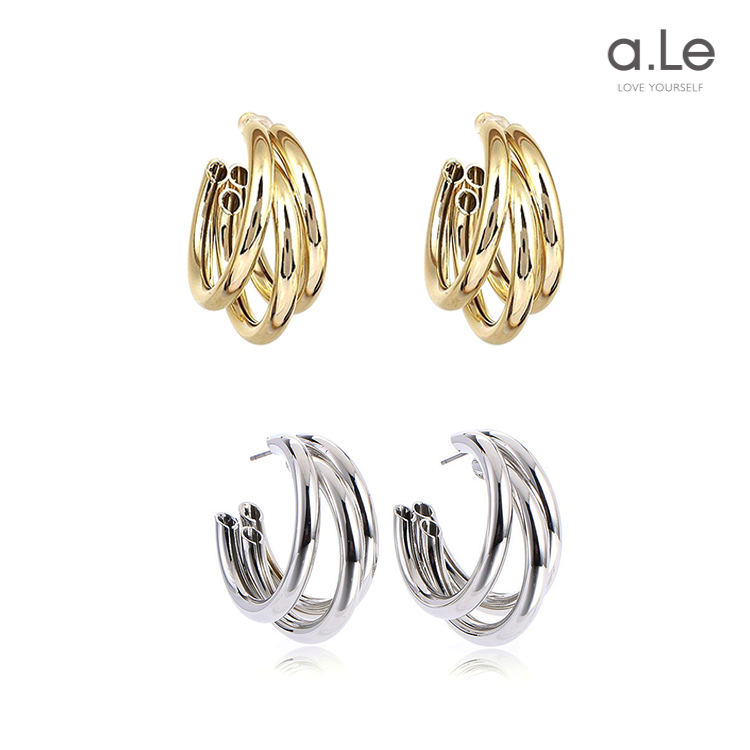 a. Le 925 silver multi-layer circle metal ring wrapped Earrings exaggerate the atmosphere personality Earrings