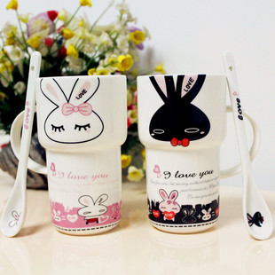 Lovely couple of cup ceramic cup creative wedding birthday gift one pair of cup lid spoon Mark