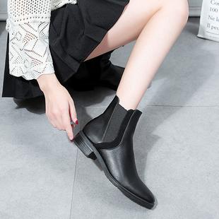 2019新款切西尔靴粗跟内增高黑色机车低帮网红英伦风厚底马丁靴