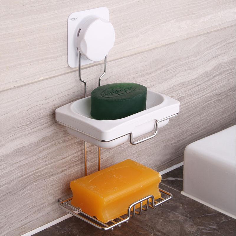 凯霸双层吸盘肥皂盒 吸盘香皂盒 创意双格肥皂架 时尚香皂架皂托