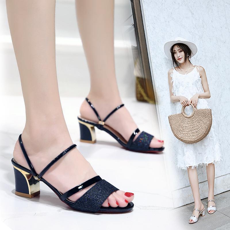 女士夏季凉拖2019新款外穿时尚新款女鞋中跟女士拖鞋中跟女鞋子