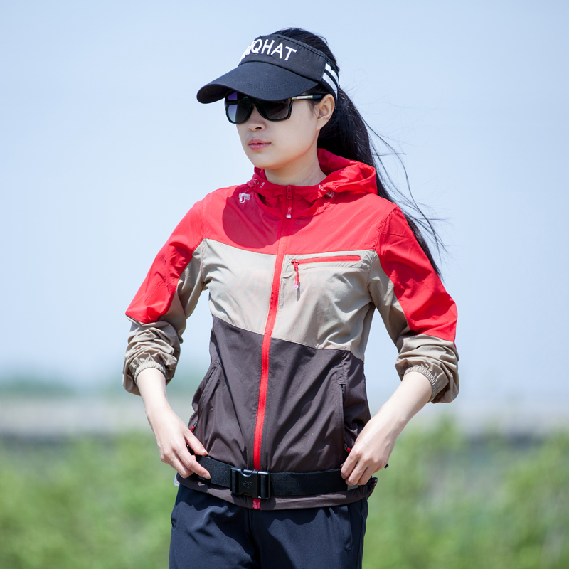 七迹户外皮肤衣女夏季弹力透气薄款防紫外线运动防晒衣女拼色外套
