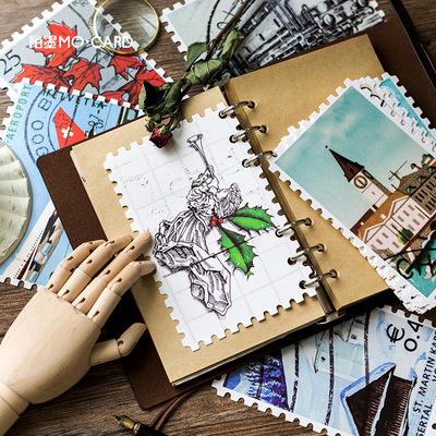 陌墨原创明信片 复古邮票 30张入盒装留言卡片 创意文具礼物