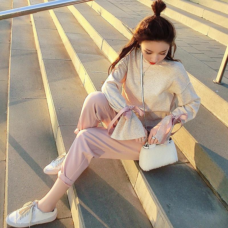 2018秋季新款韩版小香风气质淑女秋款休闲两件套装女秋冬季时尚潮