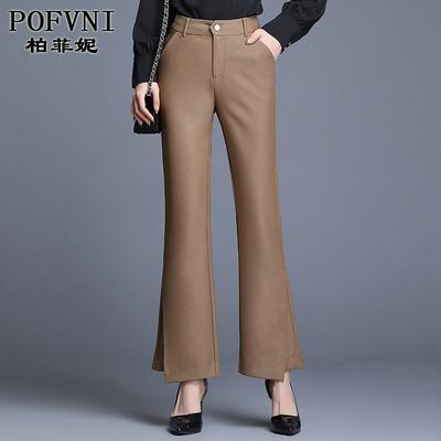 休闲女裤春季2020新款卡其色微喇裤高腰显瘦西装裤宽松垂感时尚潮