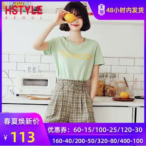 韩都衣舍2020夏装气质字母印花短袖T恤格子短裤两件套时尚套装女