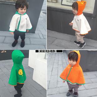 婴儿秋冬季薄绒披风斗篷0-4岁3儿童卡通上衣男女宝宝外出服秋装