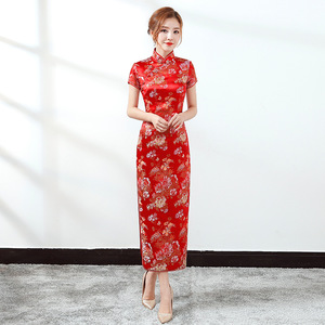 酒店迎宾服装女服务员开业礼仪旗袍连衣裙牡丹花新娘红色单位礼服
