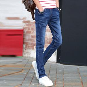 秋冬款牛仔裤男士修身小脚裤青少年弹力韩版潮黑色休闲长裤子男装