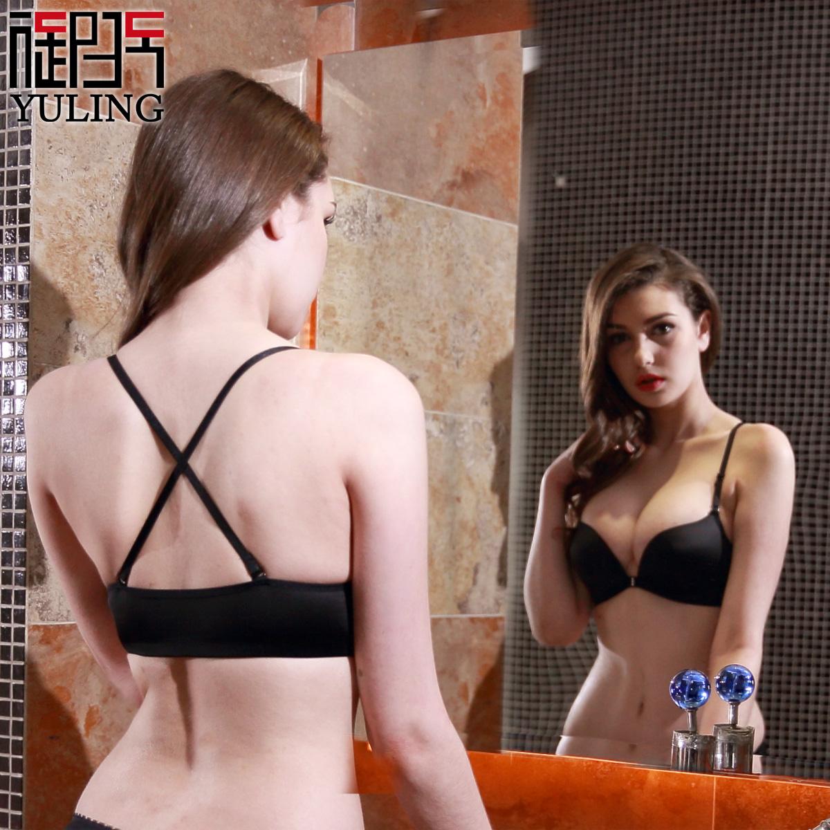 御玲新品 黑色美背内衣小胸加厚聚拢前扣无钢圈光面舒适 性感文胸